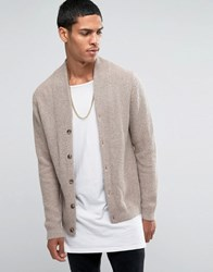 Asos Cashmere Mix Clean Cardigan With High Neck Oatmeal Brown
