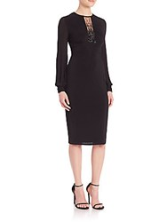 David Meister Beaded Jersey Dress Black
