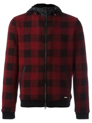 Woolrich Hooded Checked Bomber Jacket Red