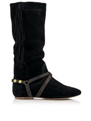 Jerome Dreyfuss Arizona Fringed Suede Boots Black