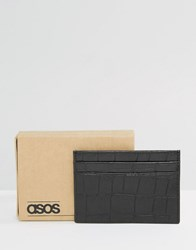 Asos Leather Card Holder With Crocodile Emboss Black