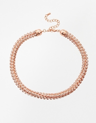 Lipsy Twisted Cup Chain Choker Necklace Rosegold