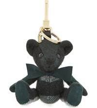 Burberry Thomas Bear Check Cashmere Keyring Forest Green