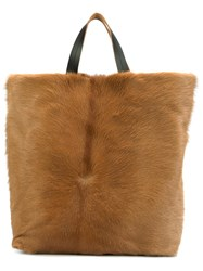 Marni Calf Hair Tote Brown