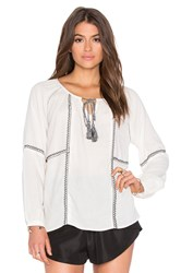 Velvet By Graham And Spencer Shavanni Embroidered Crepe Long Sleeve Top Ivory