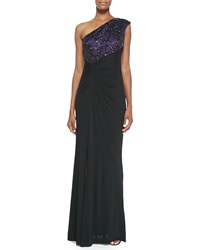 David Meister One Shoulder Beaded Angle Gown