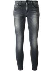 R 13 R13 Distressed 'Kate' Skinny Jeans Black