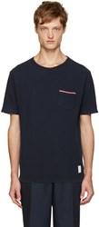 Thom Browne Navy Distressed T Shirt