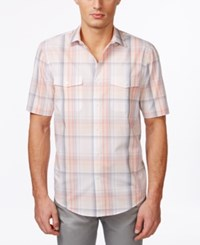 Alfani Big And Tall Montoro Plaid Short Sleeve Shirt Only At Macy's Peachy Keen