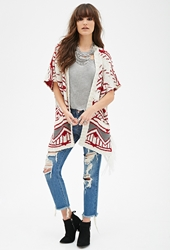 Forever 21 Fringed Tribal Pattern Cardigan