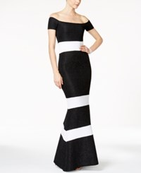 Xscape Evenings Glitter Striped Off The Shoulder Gown Black White