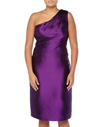 Monique Lhuillier One Shoulder Ruched Satin Dress Amethyst