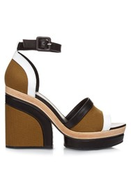 Pierre Hardy Charlotte Leather And Canvas Platform Sandals Khaki Multi