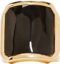 Balmain Black Inset Horn Ring