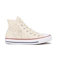 Converse Women's Chuck Taylor All Star Crochet Hi Top Trainers Parchment White