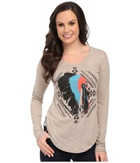 Rock And Roll Cowgirl Long Sleeve Drapey Blouse 48T5039 Taupe Women's T Shirt