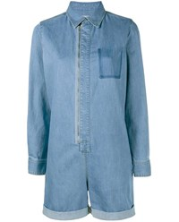 Stella Mccartney Long Sleeve Denim Playsuit Pale Blue Denim