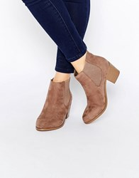 London Rebel Mid Chelsea Boots Taupe Microfibre Beige