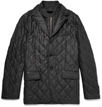 Burberry London Convertible Quilted Virgin Wool Jacket Charcoal