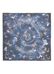 Valentino Butterfly Tie Dye Print Cashmere Silk Wool Scarf Multi Colour