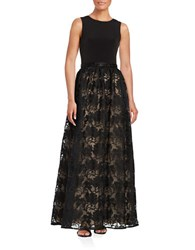 Calvin Klein Sleeveless Embroidered Floral A Line Gown Black Nude
