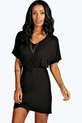 Boohoo Batwing Tie Shift Dress Black