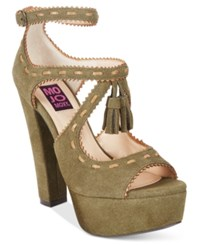 Mojo Moxy Creole Platform Tassled Dress Sandals Women's Shoes Army