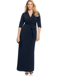 Ny Collection Plus Size Faux Wrap Maxi Dress Navy