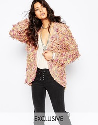 Sunshine Soul Boho Shaggy Cardigan With Tassels Multinatural