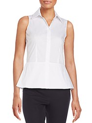 Saks Fifth Avenue Black Sleeveless Peplum Shirt White
