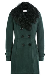 Red Valentino Sheepskin Coat With Shearling Green
