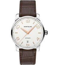 Montblanc 110340 Timewalker Stainless Steel And Leather Watch