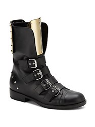Giuseppe Zanotti Leather And Goldtone Metal Buckle Boots Nero