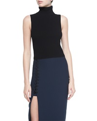 Elizabeth And James Turtleneck Sleeveless Top Black