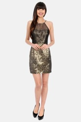 Phoebe Couture Metallic Textured Strappy Dress