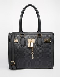 Aldo Faux Snake Tote Bag With Lock Detail Black
