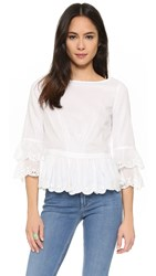 Tory Burch Drop Hem Ruffle Top White