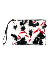 Marni Large Embellished Zip Leather Pouch Multi Coloured Black White
