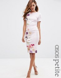 Asos Petite Placed Floral Printed T Shirt Bodycon Dress Lilac Floral