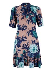 Closet Peach Blue Floral Print Dress Pink