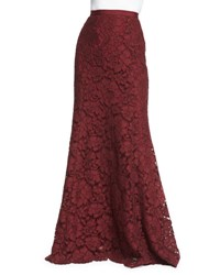 Oscar De La Renta Long Lace Fishtail Skirt Bordeaux