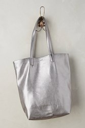 Anthropologie Classic Leather Tote Silver