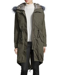 Andrew Marc New York 3 N 1 Parka W Removable Fur Liner Olive Green Women's