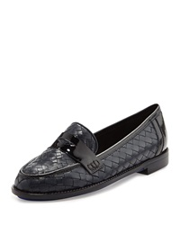 Sesto Meucci Nattie Woven Leather Loafer Navy