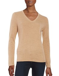 Lord And Taylor Merino Wool V Neck Sweater Classic Camel Heather