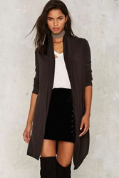 Nasty Gal One Touch Drape Sweater Charcoal