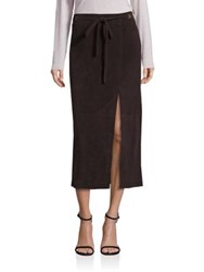 Saks Fifth Avenue Suede Leather Drawstring Skirt Chocolate
