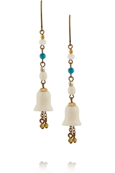 Isabel Marant Xayoi Gold Tone Horn And Bead Earrings Off White