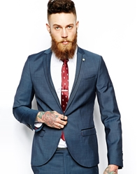 Noose And Monkey Skinny Suit Jacket With Contrast Piping Blue