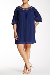 Want And Need Daisy Crochet Neck Ruffle Trim Dress Plus Size Blue
